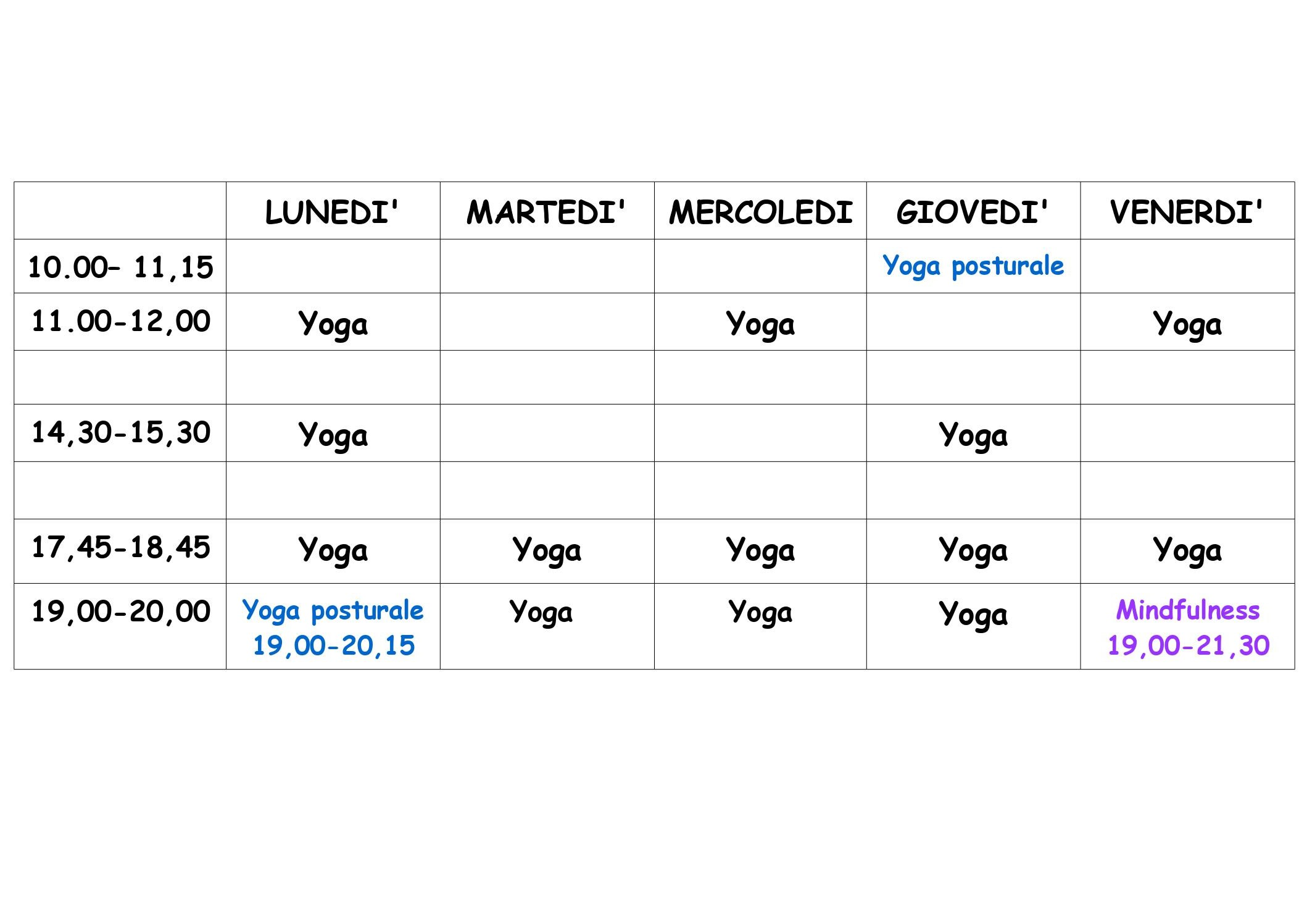 Orario Studio Yoga Sadhana